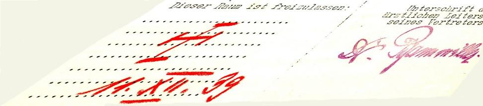 Ausschnitt aus einem Meldebogen der Aktion T4